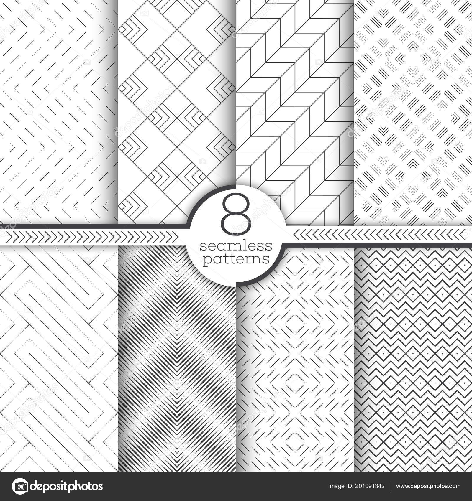 Infinitely Repeating Geometrical Ornaments With Linear Shapes, Zigzags, Rhombus, Diamond,