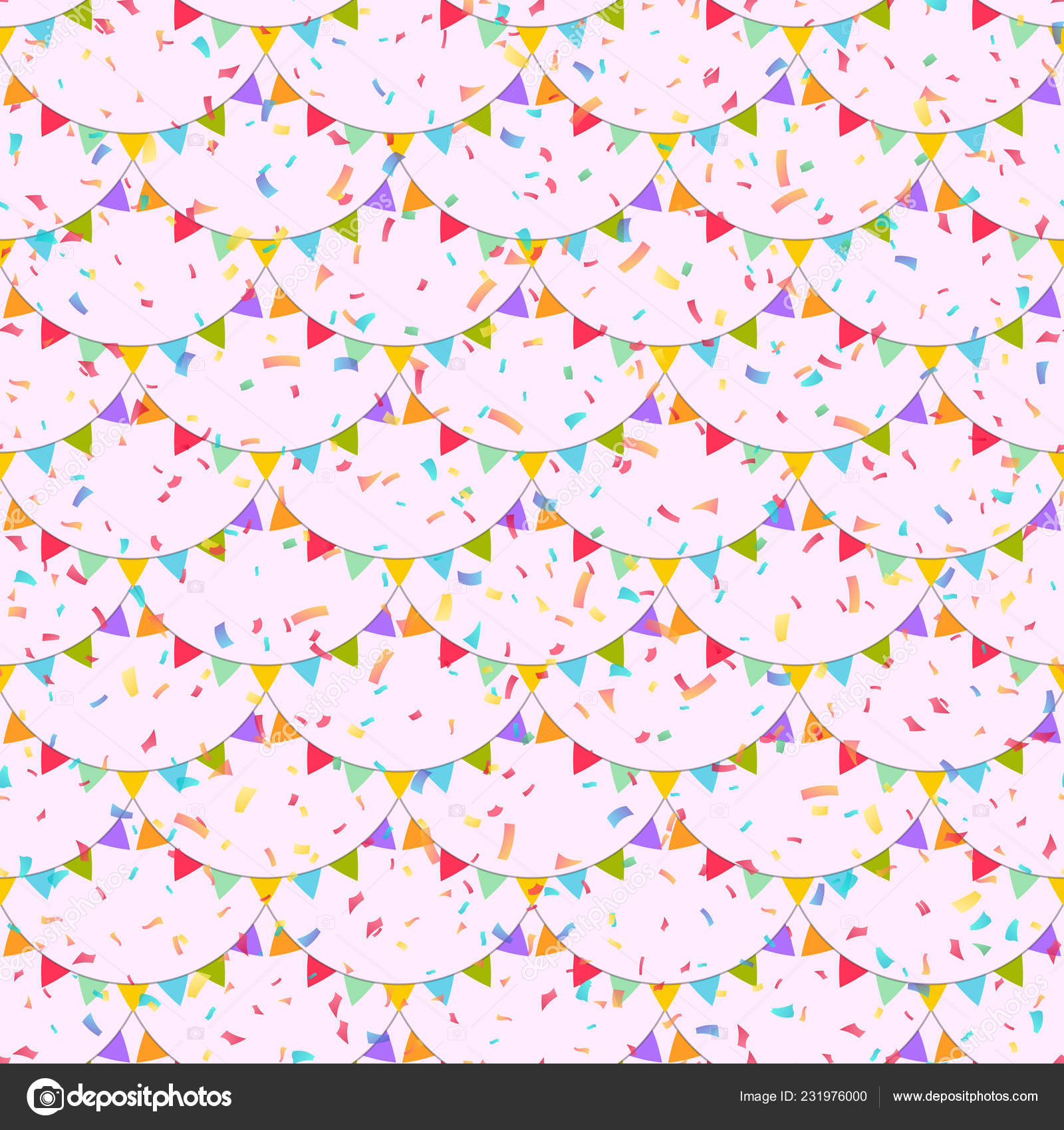 Garlands Colorful Festive Flags Background Falling Confetti