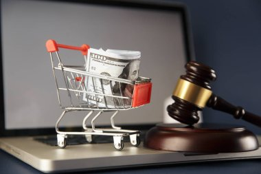 Close-up Of Brown Gavel And Shopping Cart In Front Of Law