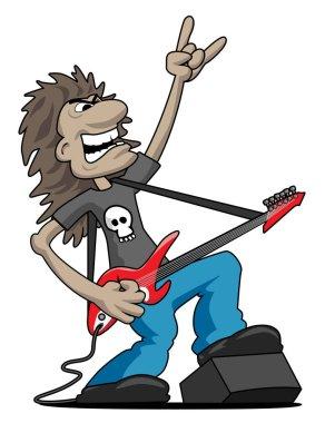 Heavy Metal Rock Guitarist Cartoon Vector Illustration