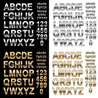 Realistic chrome and gold style effect alphabet font with letters and numbers, uppercase and lowercase, on dark and light background isolated vector illustration for easy editing to add sharp typography for your design
