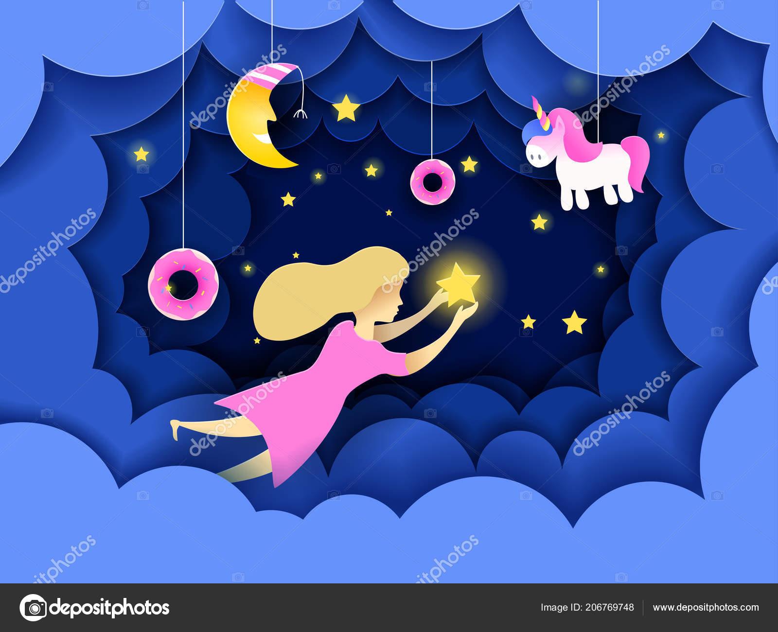 Babykamer Behang Sterren : Kind aanraken van de sterren aan de hemel kinderen dromen