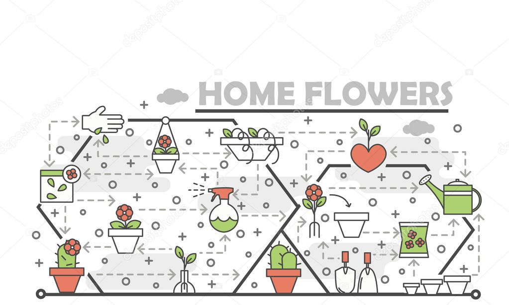 Vector thin line art home flowers poster banner template