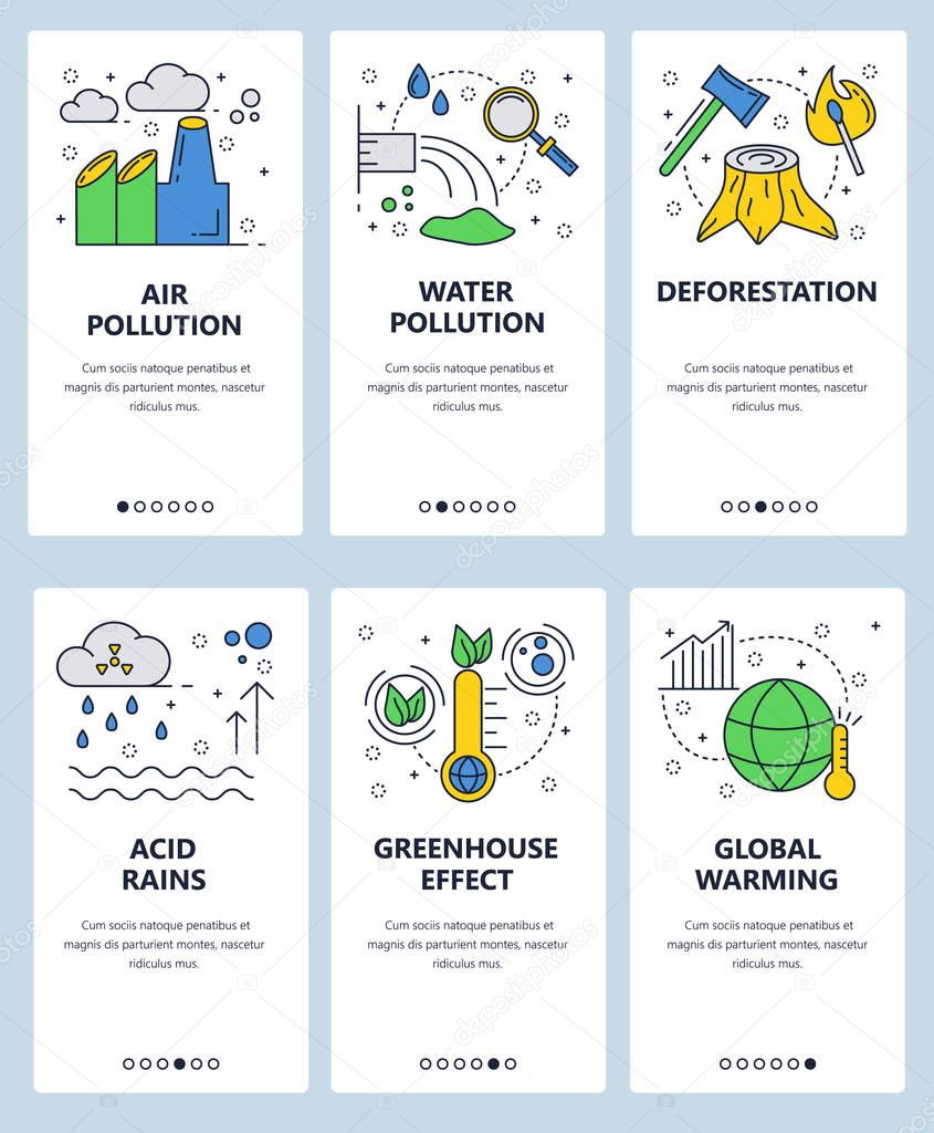 Vector web site linear art onboarding screens template. Global warming and industrial pollution. Ecology problems. Menu banners for website and mobile app development. Modern design flat illustration.