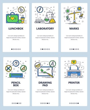 Vector web site linear art onboarding screens template. School accessories and icons. Chemistry lab, test grades, printer. Menu banners for website and mobile app development. Modern design flat
