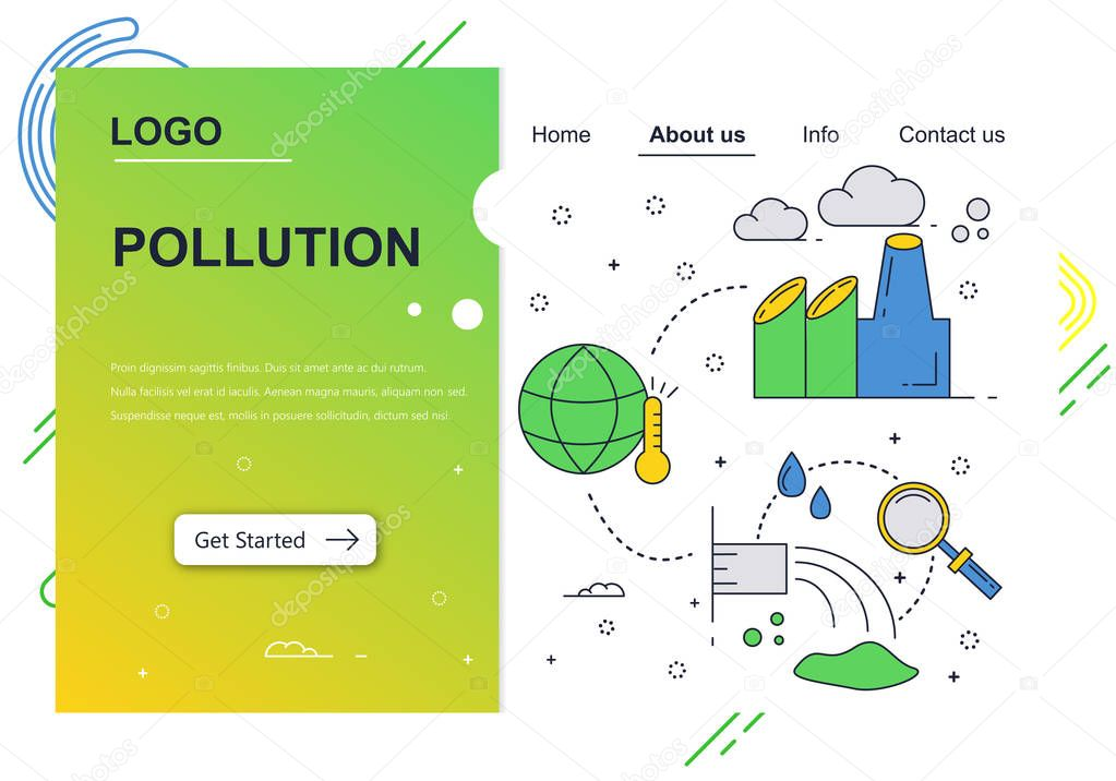 Vector web site linear art design template. Air and water pollution. Ecology environment problems. Landing page concepts for website and mobile development. Modern flat illustration.