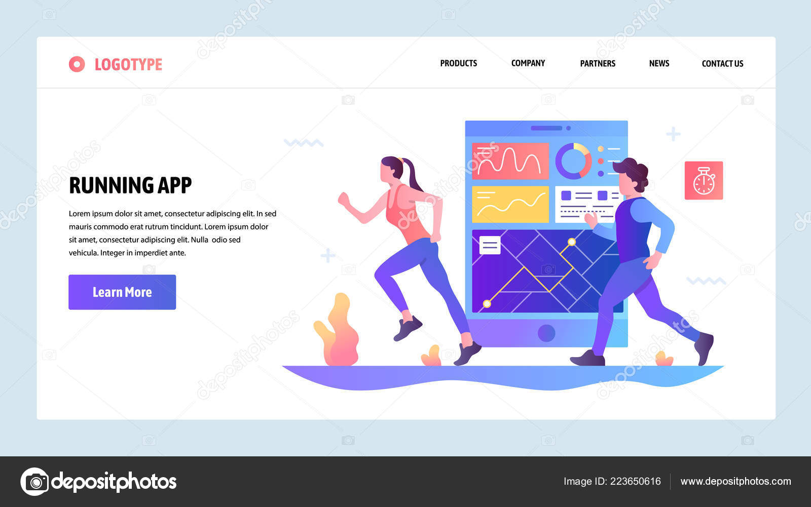 Vector web site gradient design template  Fitness tracker