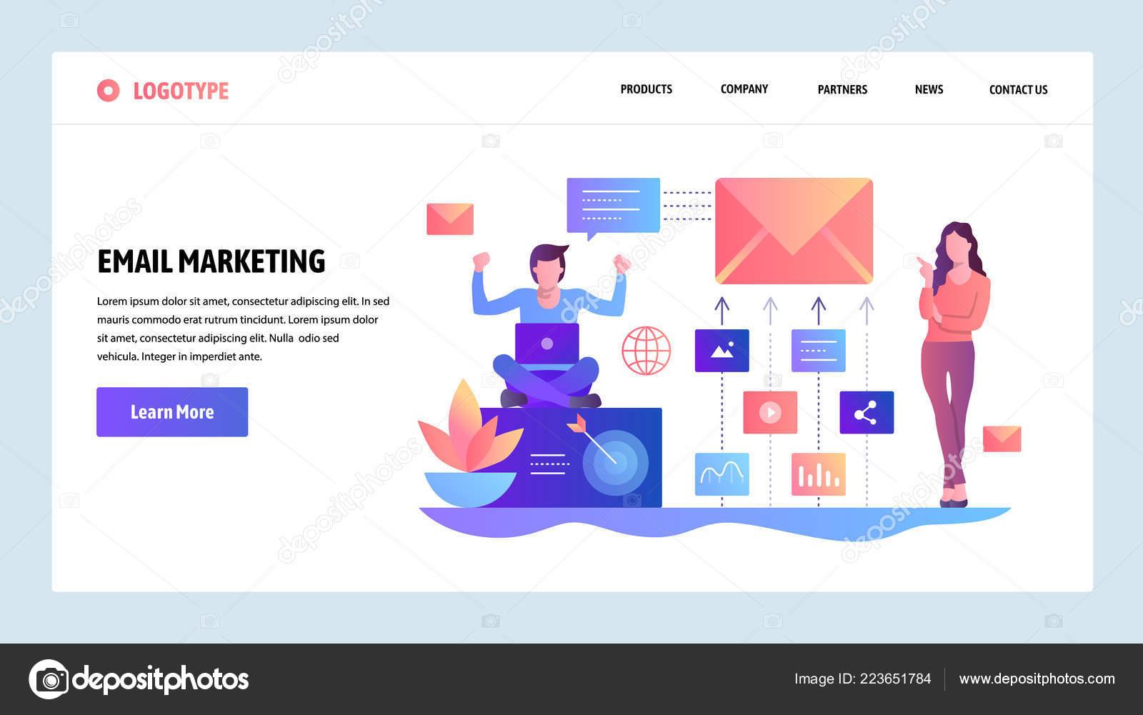Šablona návrhu webu vektorové. Digitální a e-mailový marketing. Úvodní  stránka koncepty pro adc6fb2af0