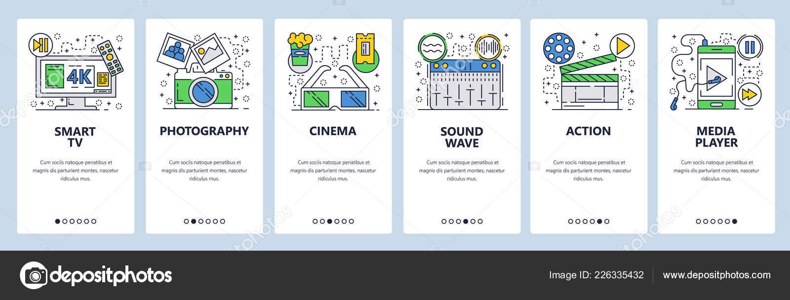 Vector web site linear art onboarding screens template