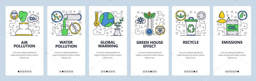 Web site onboarding screens. Global warming, environment pollution and waste recycle. Menu vector banner template for website and mobile app development. Modern design linear art flat illustration.
