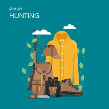 Hunting season vector flat style design illustration
