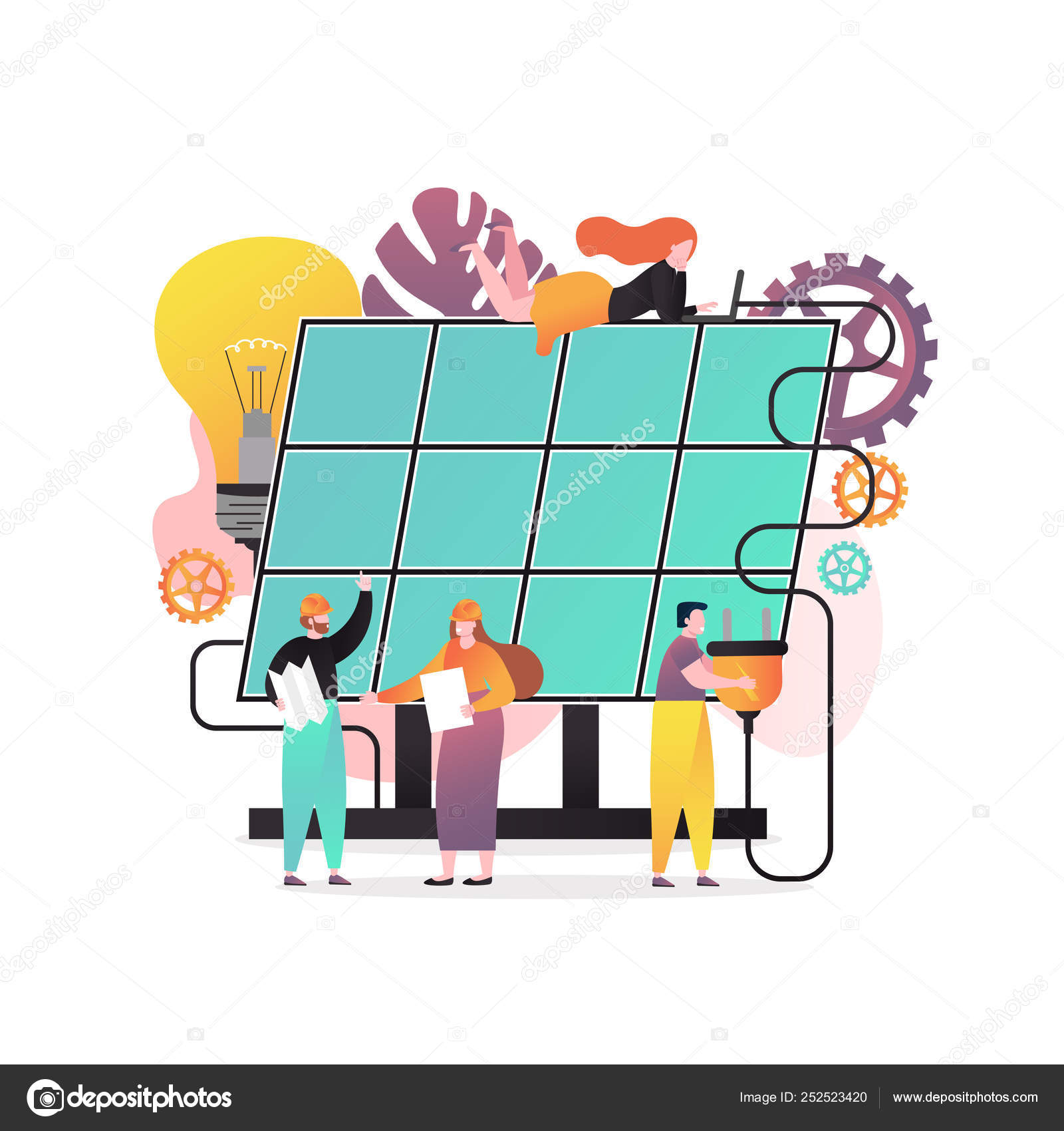 Solar energy vector concept for web banner, website page