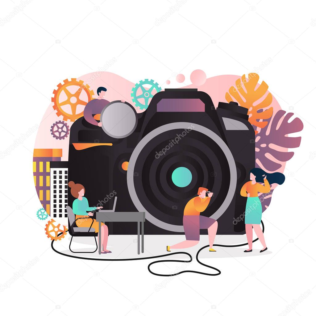 Vector Illustration Of Big Photo Camera And Cartoon Characters Photographer Taking Photograph Of Young Girl Photography Studio Service Photo Session Concept For Web Banner Website Page Etc Premium Vector In Adobe