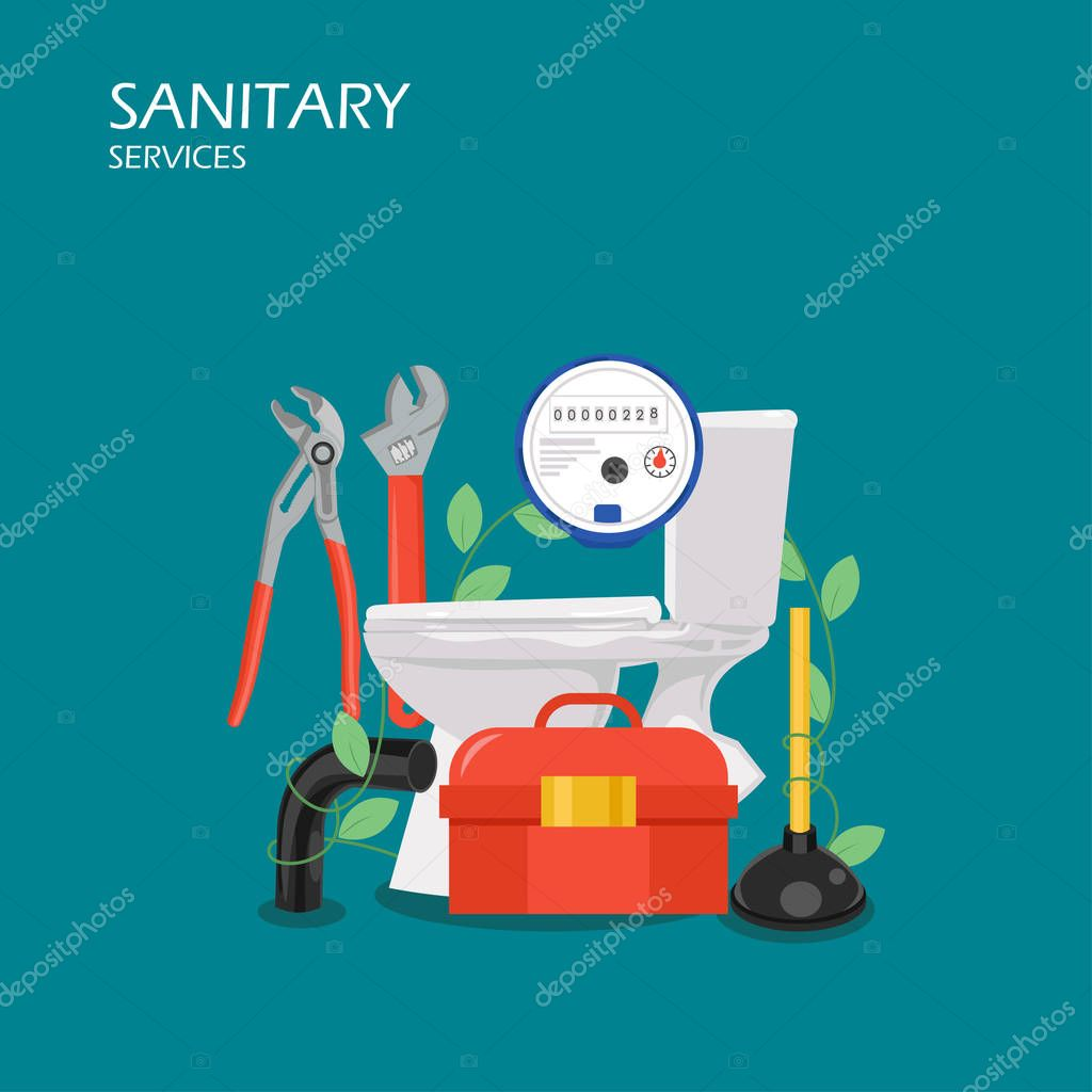 Sanitary services vector flat style design illustration