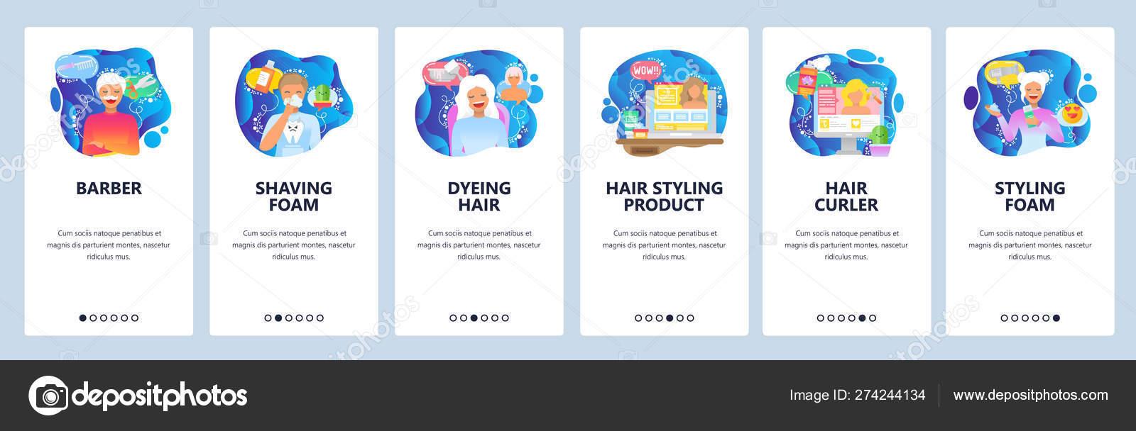 Mobile app onboarding screens. Barbershop, beauty salon