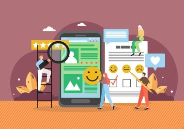 Customer review, rating, client feedback. Business people collecting stars, using smile faces in survey questions as answers, flat vector illustration. Emoji, emoticon satisfaction customer survey. icon