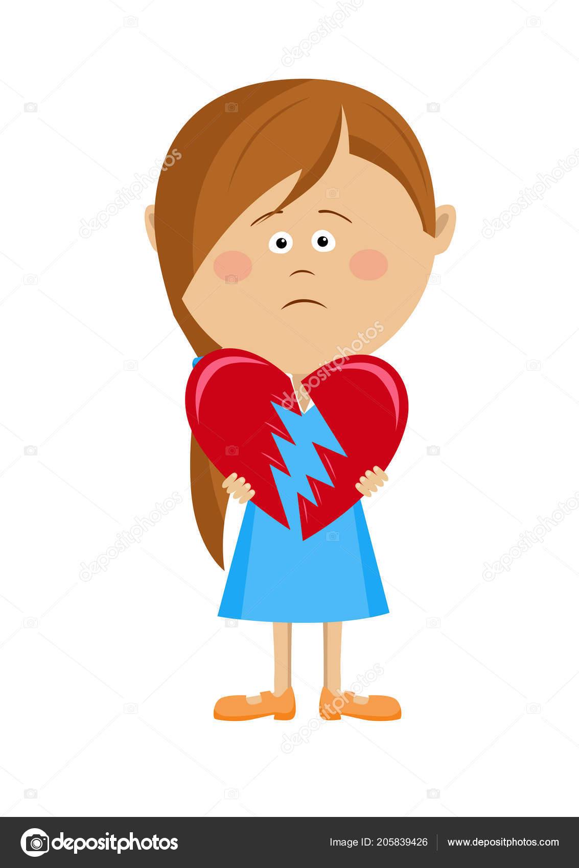 Unglückliche Mädchen Mit Einem Gebrochenen Herzen
