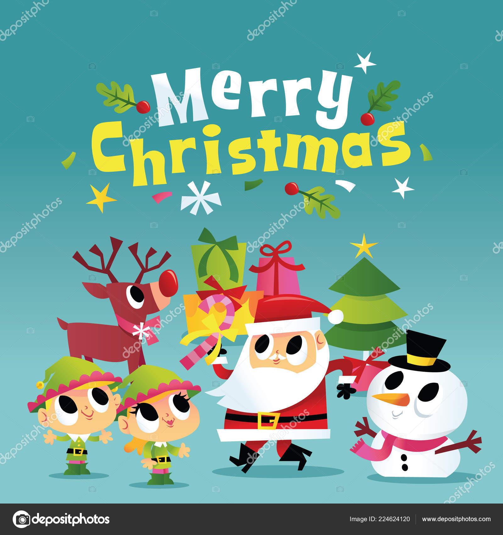 Weihnachtsfeier Cartoon.Ein Cartoon Vektor Illustration Super Nette Fröhliche