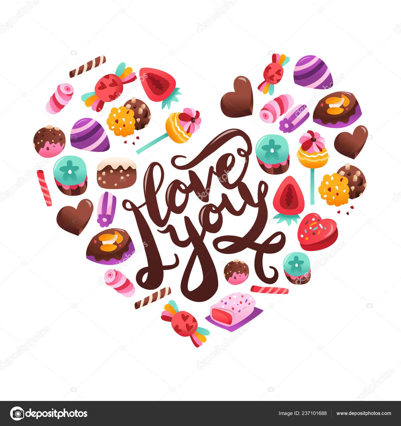 Una Ilustración Vectorial Amor Frase Con Caramelos Dulces