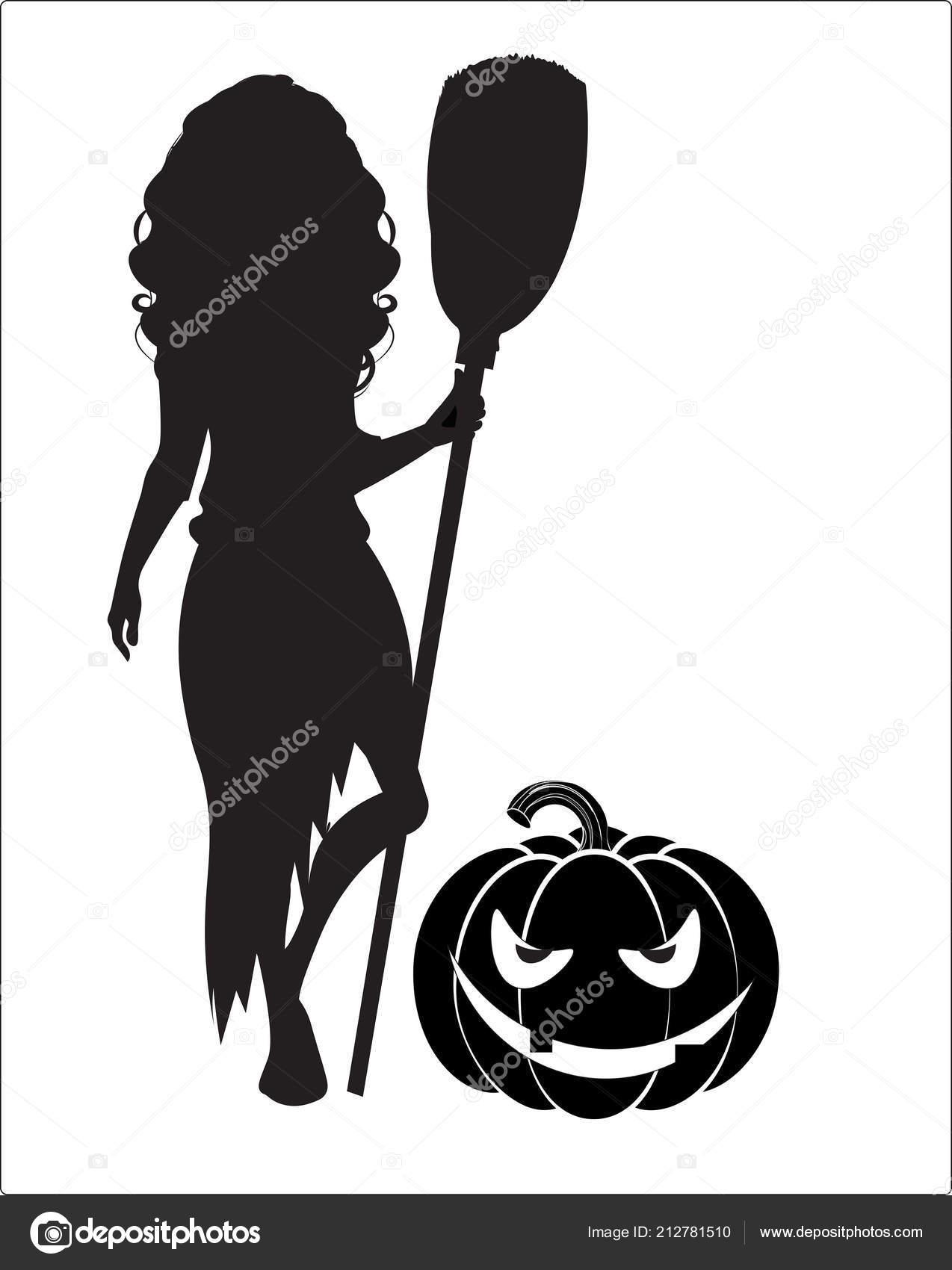 silhouette witch broom pumpkin stock vector lollitta 212781510