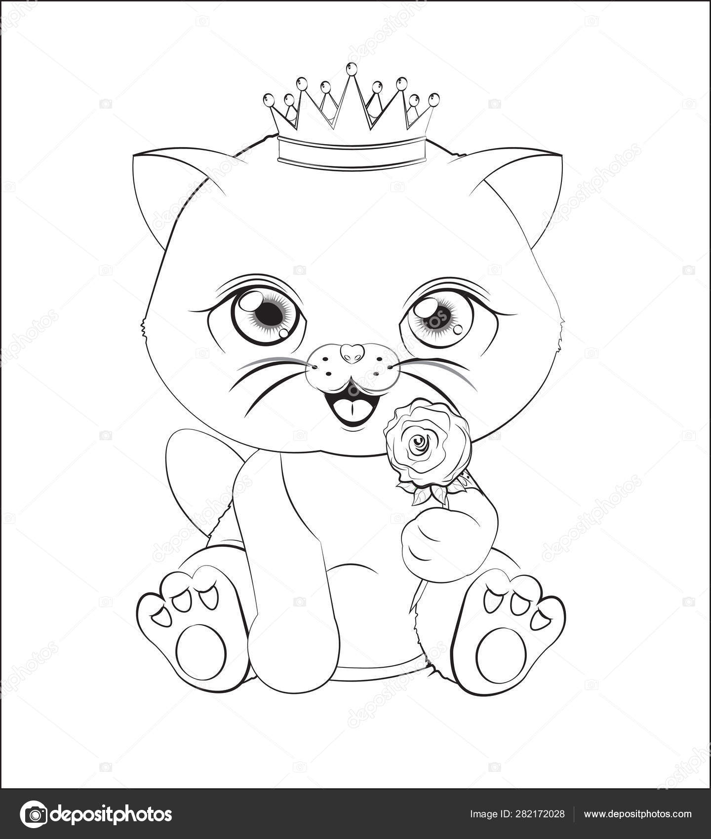 Cat With Flower Coloring Book Stock Vector C Lollitta 282172028
