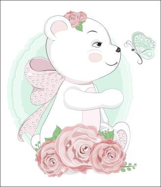 Teddy bear with butterfly