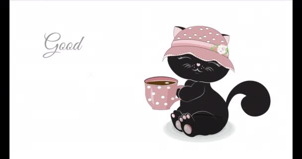 black kitten with cup of coffee wishes good morning