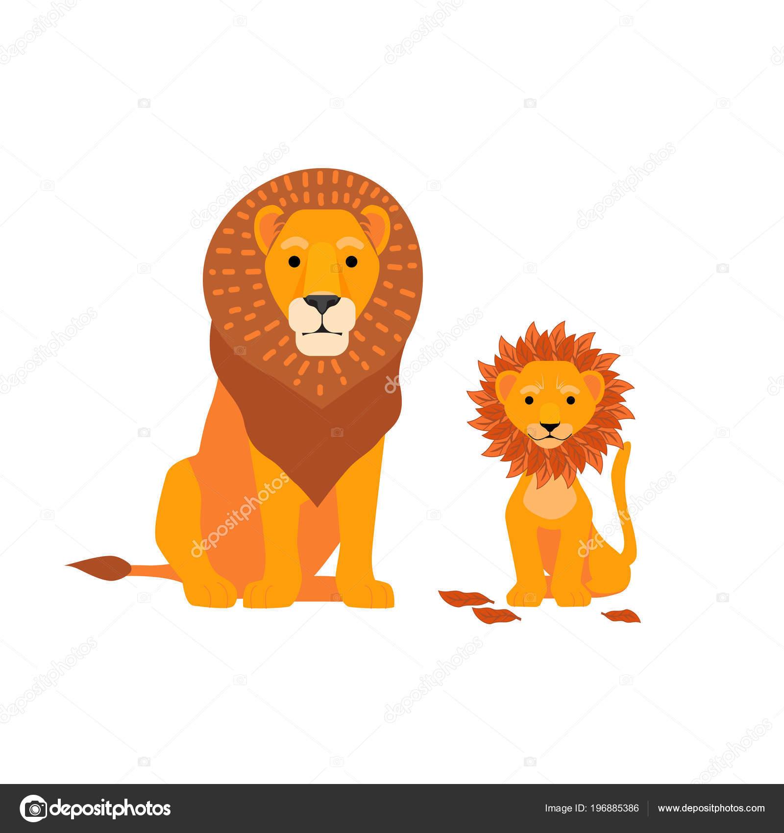 Lev A Syn Rodiny Vektorove Ilustrace Den Otcu Happy Kreslene
