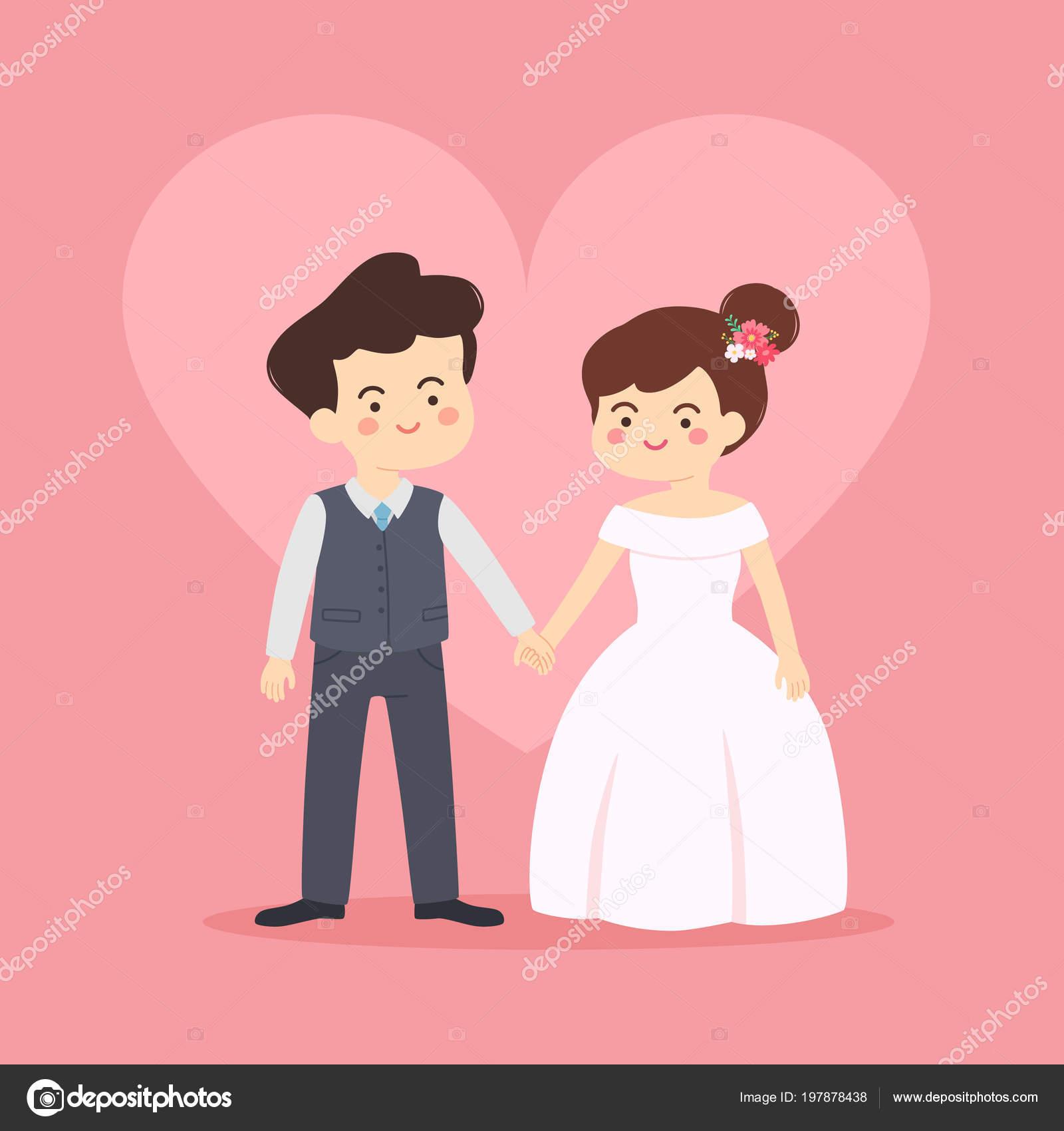 Hochzeit Einladung Vektor Illustration Karikatur Mit Schönen Paar Braut Und  U2014 Stockvektor