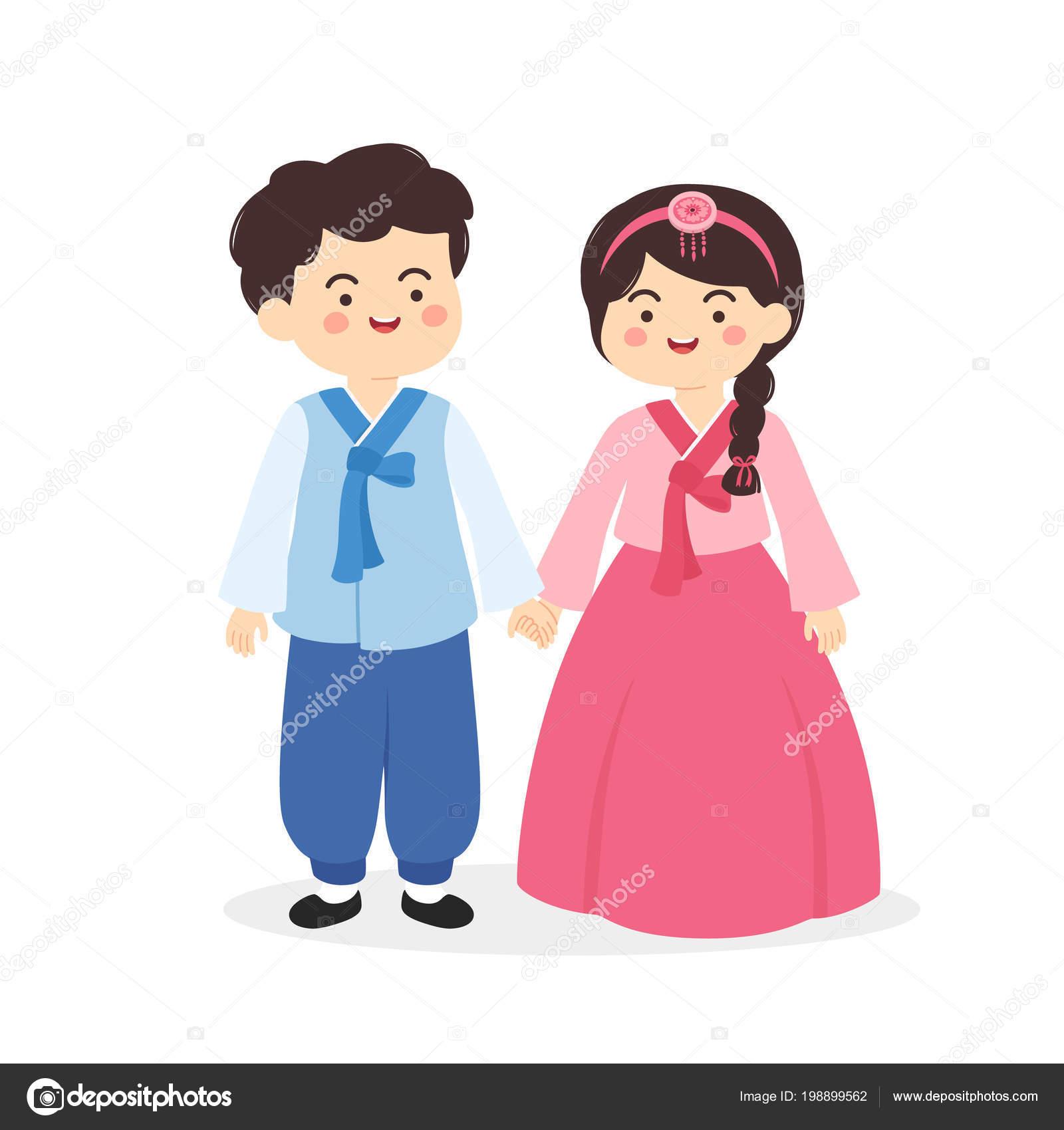 Cute Korean Hanbok Couple Traditional Clothes Costume Cartoon Vector