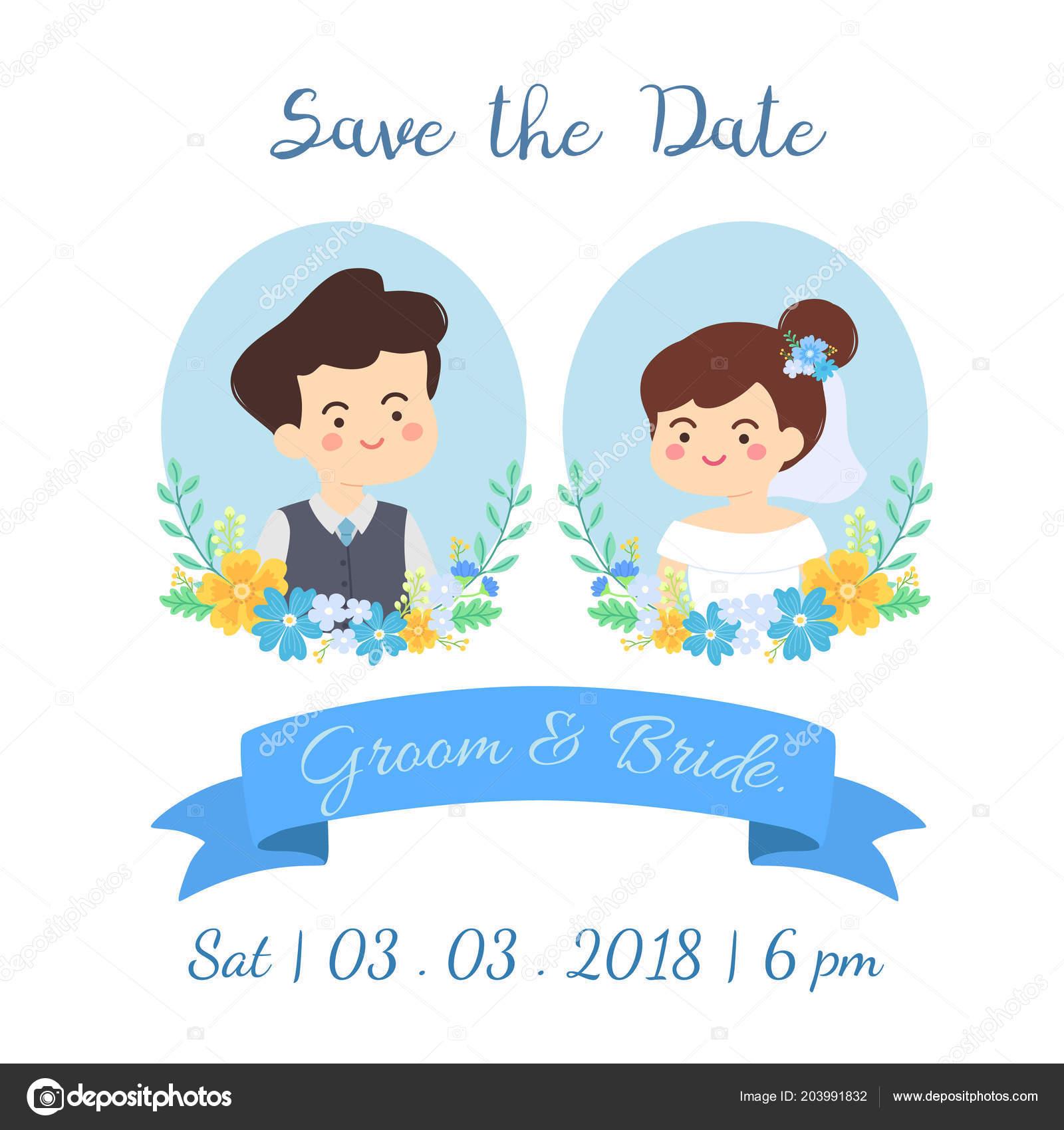 Cute Wedding Couple Date Invitation Card Vector Illustration Cartoon Bride Stock Vector C Anitnov 203991832