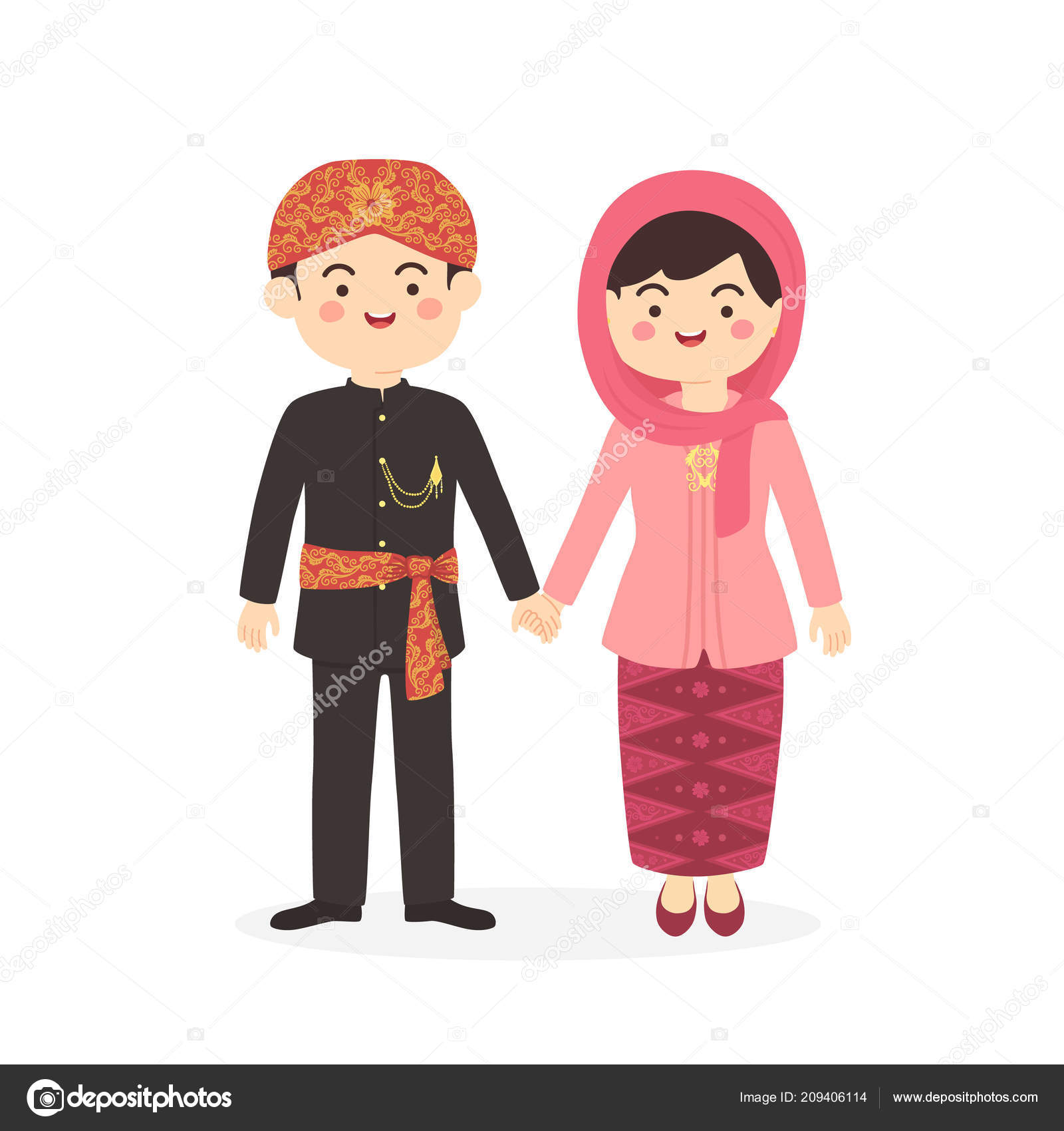 Betawi Jakarta Indonesia Couple Cute Abang None Traditional Clothes