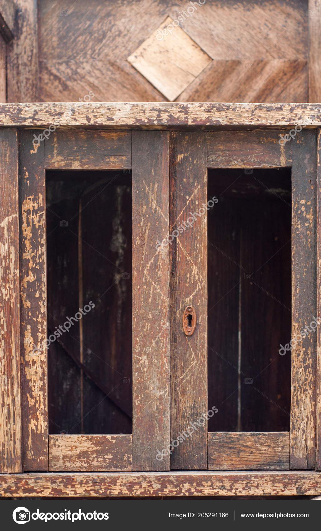 Vieille Porte Bois Peinture Craquage Craquage Fenêtre était Fissurée