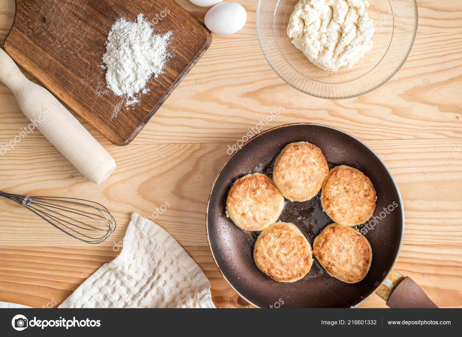 Ingredients Making Pancakes Egg Butter Milk Pancakes Wooden