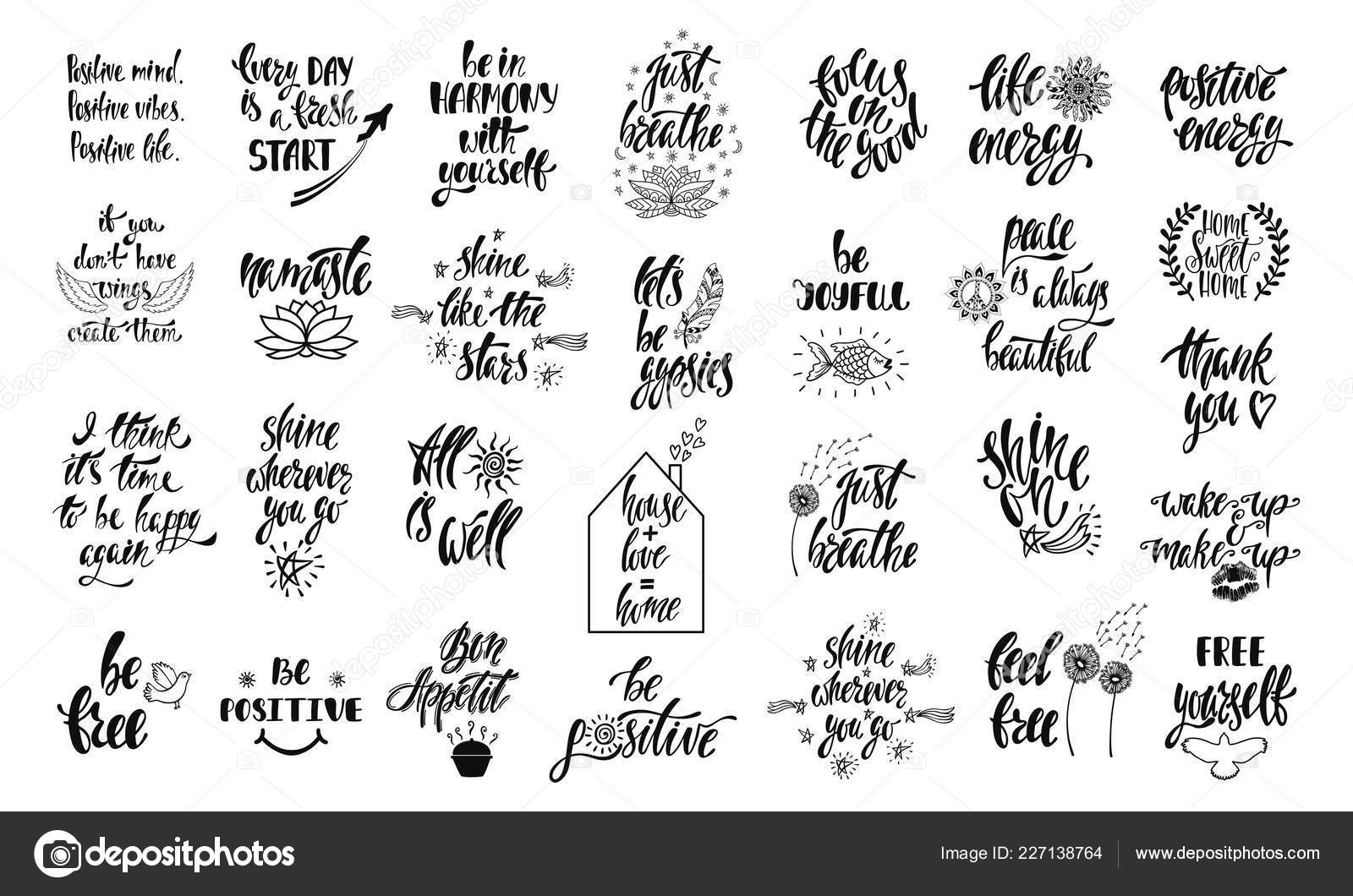 Set of positive inspirational quotes with sketch elements ...