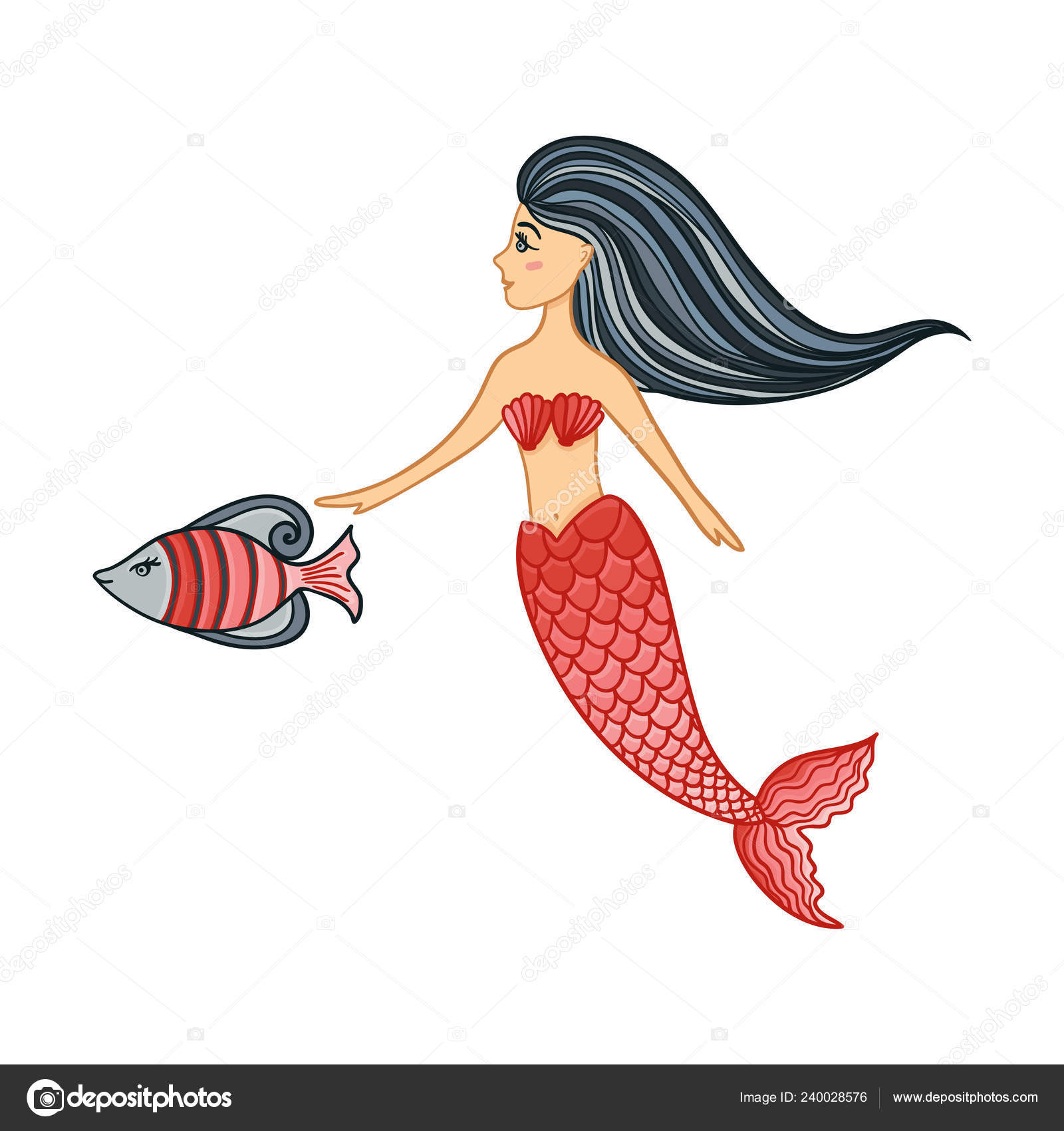 Hand Drawn Cute Little Mermaid Girl With Fish Color Sketch