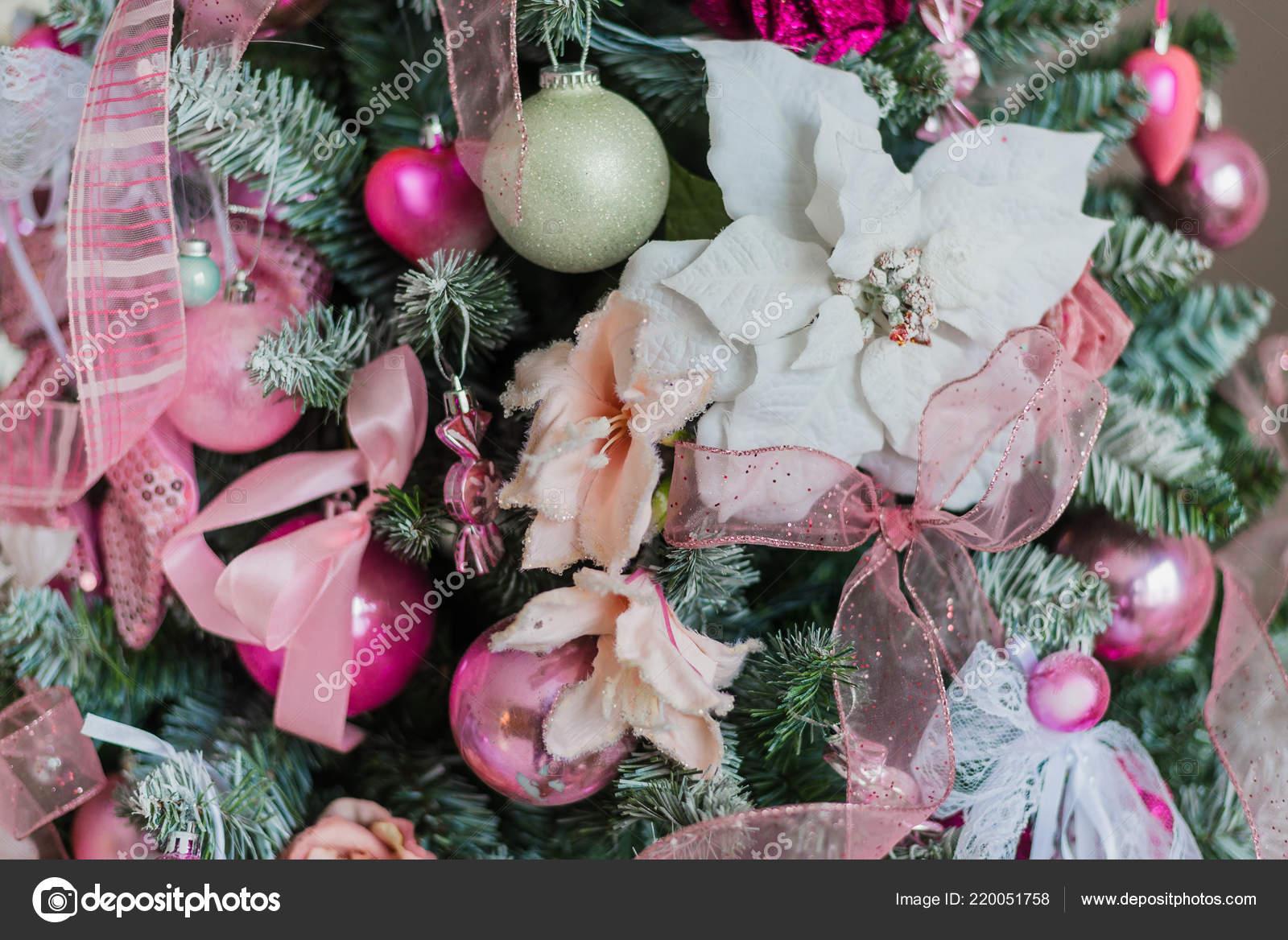 Christmas Tree Decorations In A Pink Colors Stock Photo C Romankosolapov 220051758