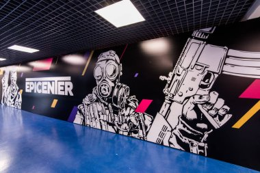 MOSCOW, RUSSIA - OCTOBER 27 2018: EPICENTER Counter Strike: Global Offensive esports event. Big graffiti on a wall with events logo and terrorist and counter-terrorist.