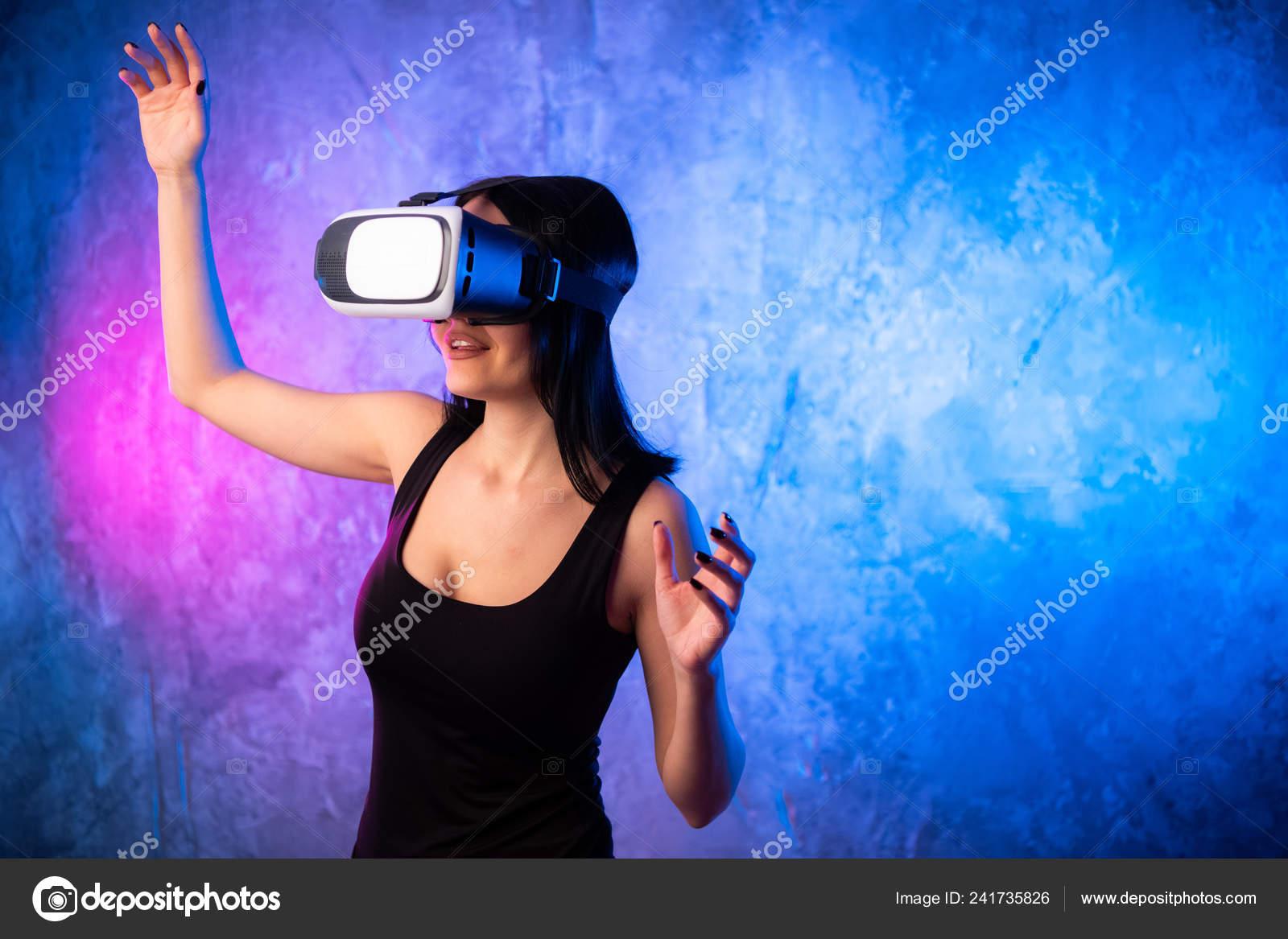 Beautiful Pro Gamer Girl Wearing Virtual Reality Headset