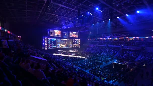 MOSCOW, RUSSIA - 14th SEPTEMBER 2019: esports Counter-Strike: Global Offensive event. Main stage, lightning, illumination, big screen with game moments from overlooking spot at the top.