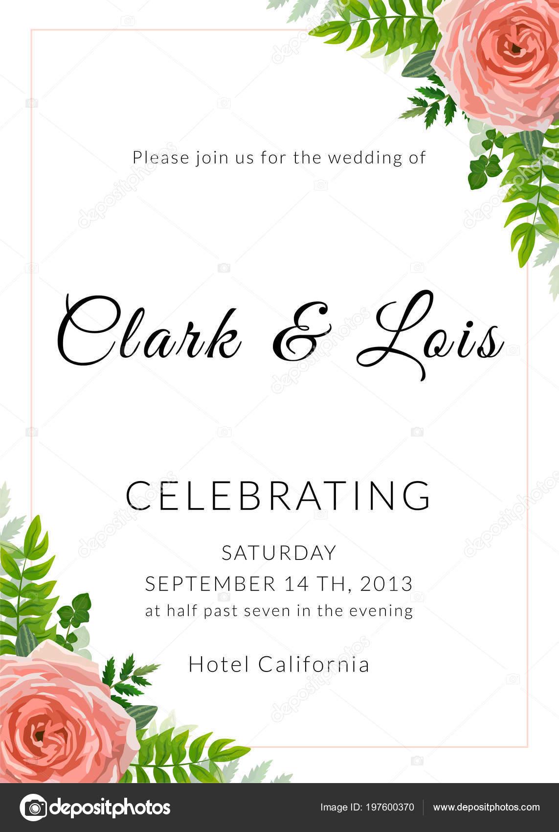 Wedding Invitation Card Lovely Template Card Design Rose Flower ...