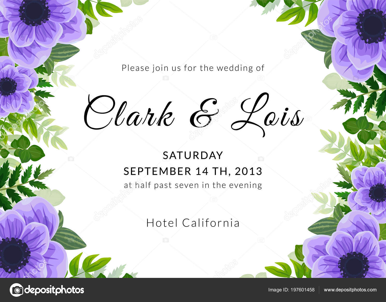 Wedding Invitation Card Lovely Template Card Design Violet