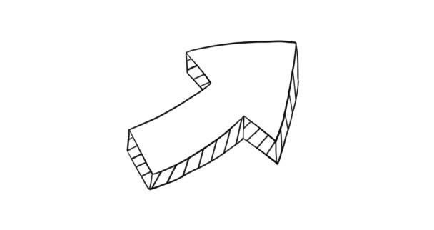 Arrow doodle animation. Art object.