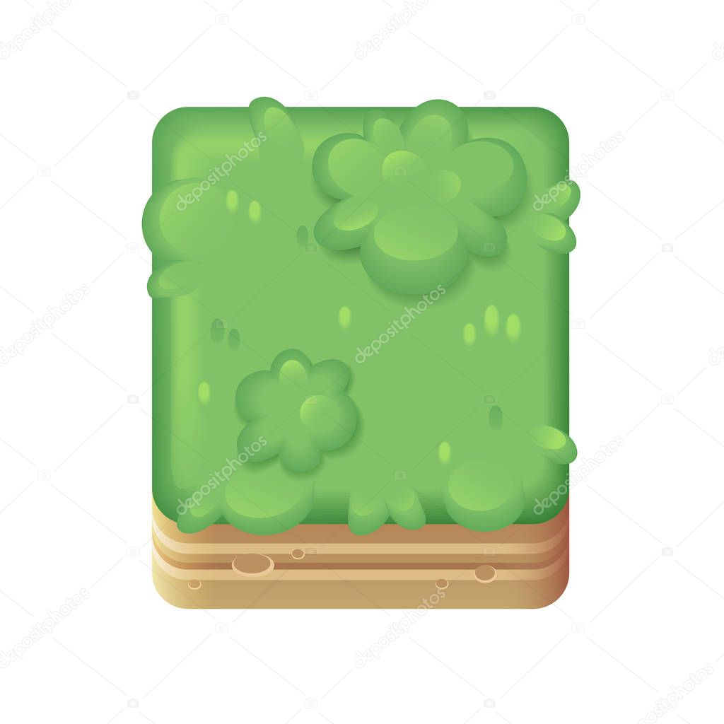 Cartoon green grass tile block for games on phones and computers.