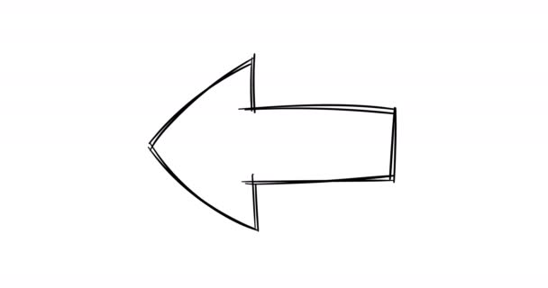Hand drawn doodle left arrow.