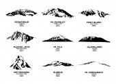 Outline vector illustration of highest mountains of each continents