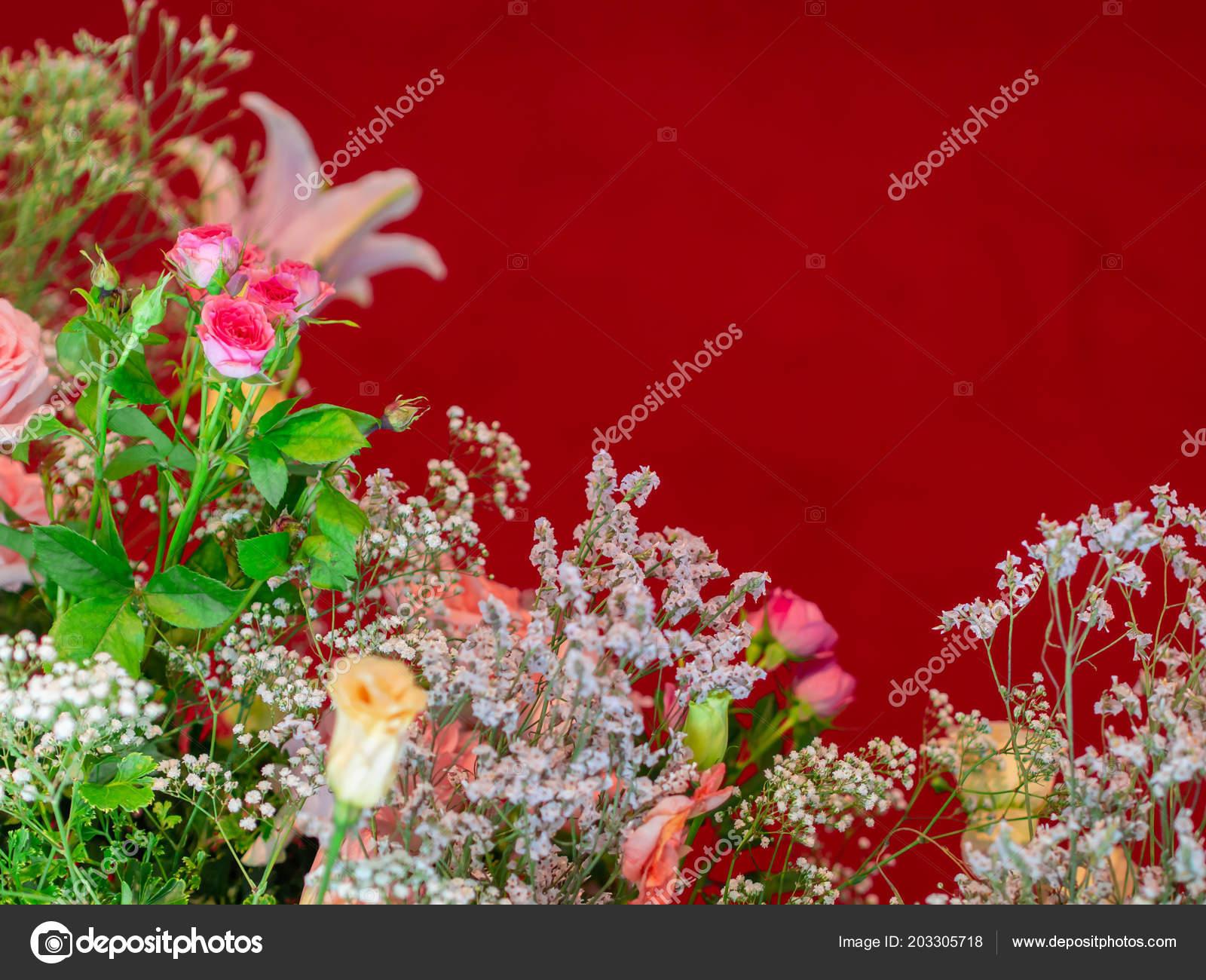 Viele Arten Von Blumen Auf Rotem Grund Wedding Hautnah Konzentrieren