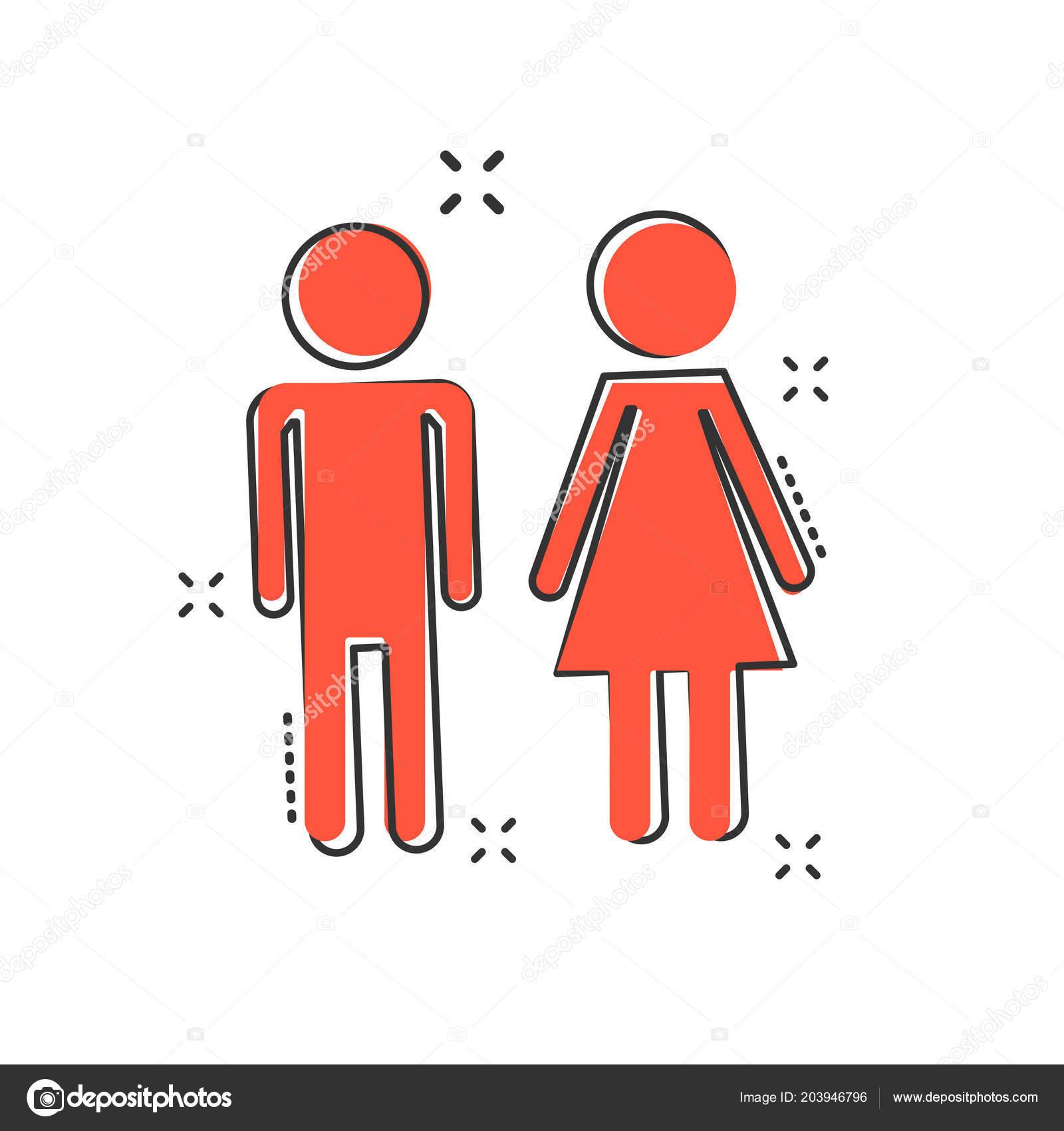 Vector Dibujos Animados Hombre Mujer Icono Estilo Cómic