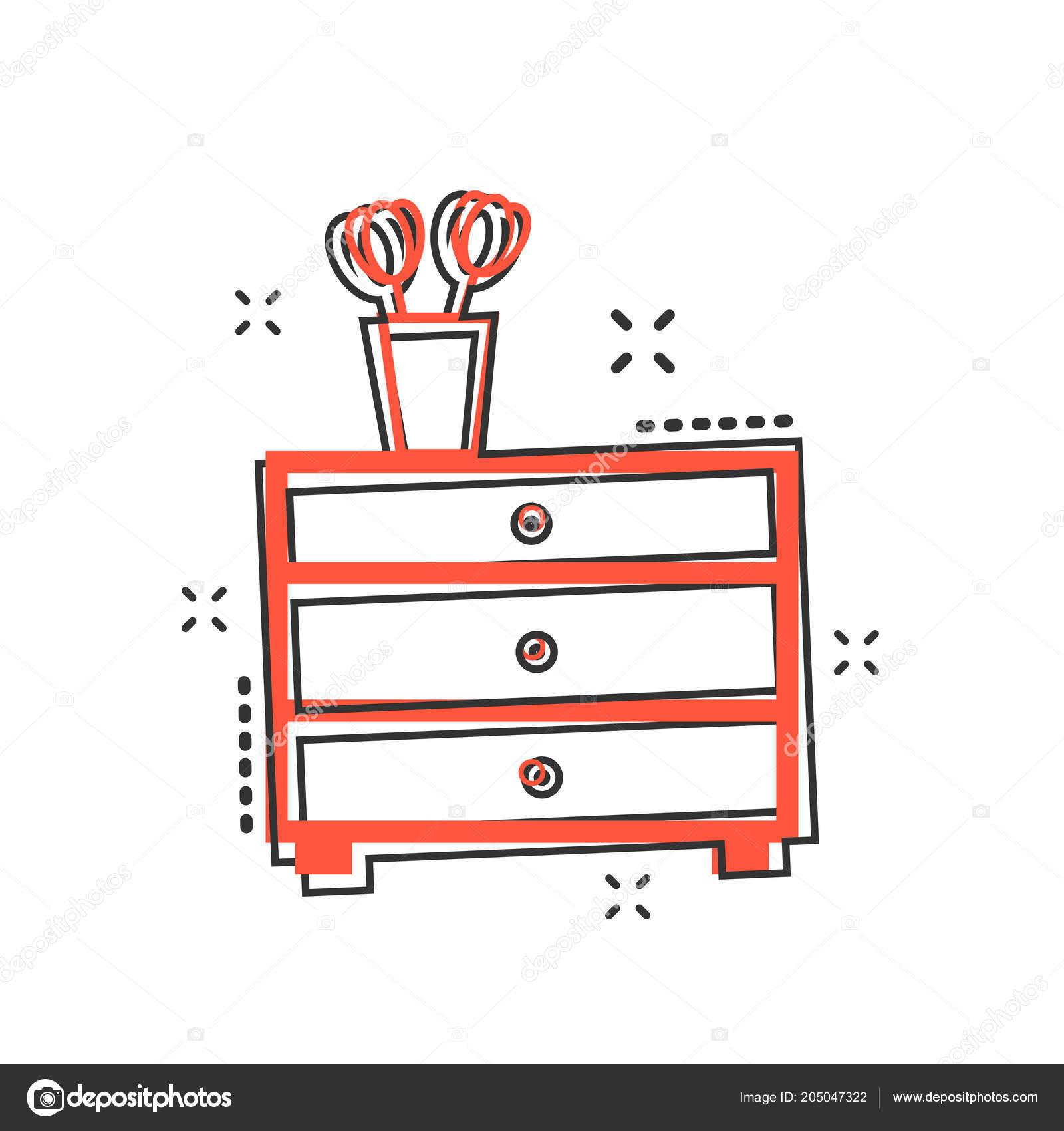 Vector Zeichen Schrank Cartoon Möbel Symbol Comic Stil NwPOk8n0XZ