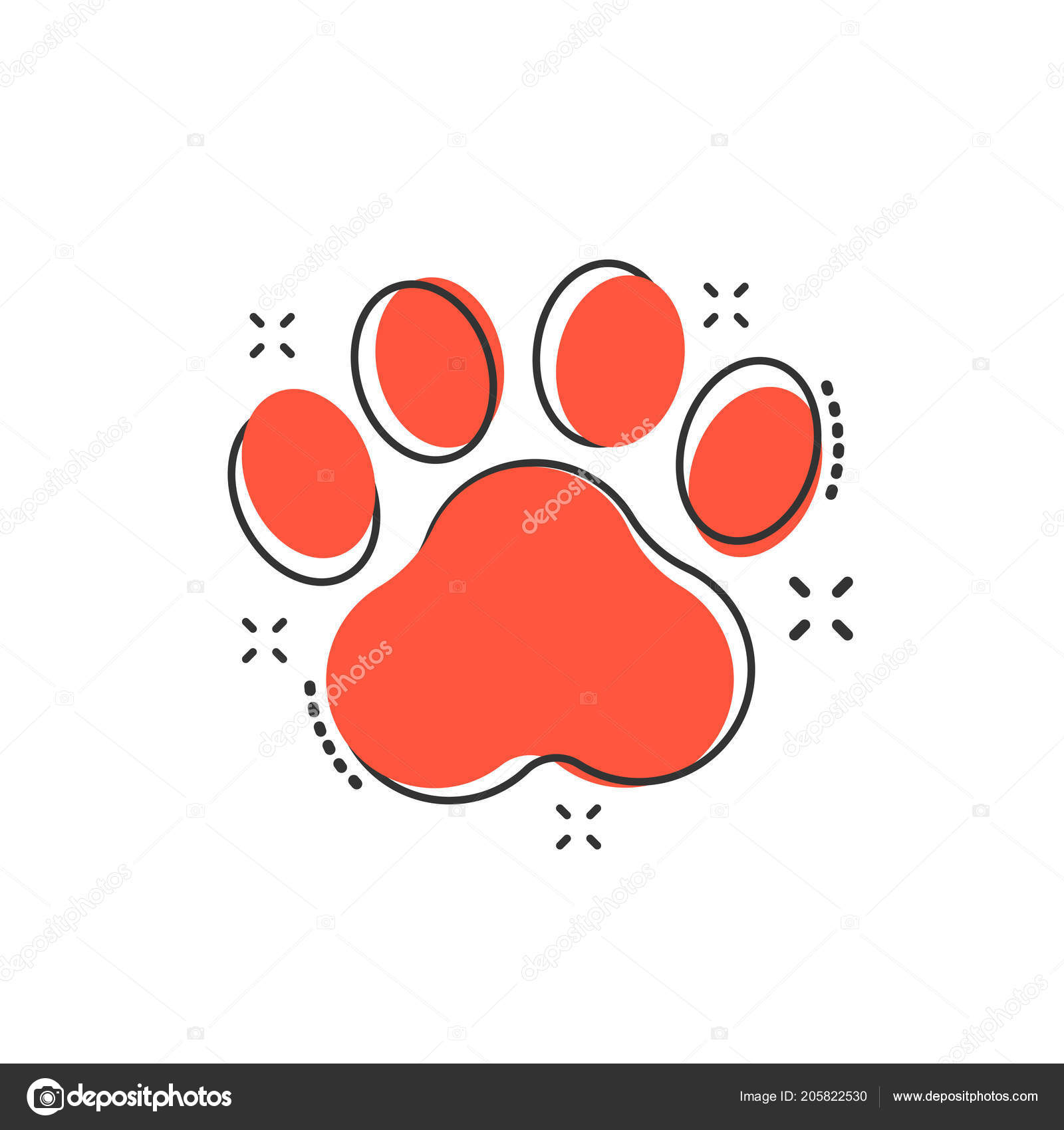 da8af0347f75 Vector cartoon paw print icon in comic style. Dog or cat pawprint sign  illustration pictogram. Animal business splash effect concept. — Vector by  sanek13744